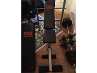 Weightlifting bench, sit up thing, bar & weights 35kg, dumbbells x2 6kg