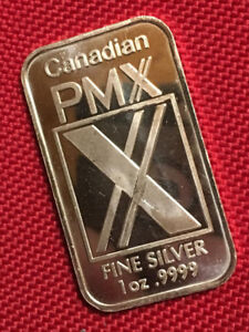 1 oz Canadian PMX Fine Silver (9999) Bars ~ New in Capsule