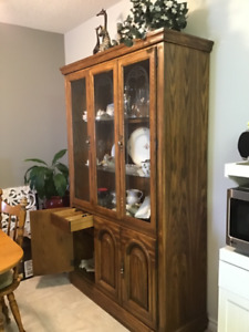 Solid Oak Buffet / Hutch Cabinet