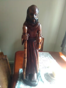 vintage hand carved wooden jamacian floor statue 29 inces tall