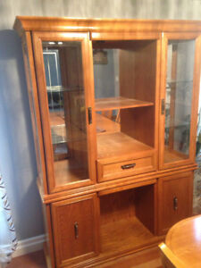 Solid oak cabinet and dining table for sale