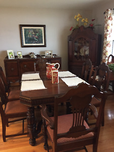 Dining room table chairs, buffet and china cabinet