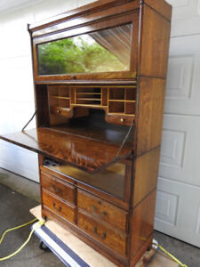 antique barrister bookcase/secretary desk /4 drawers:exceptional
