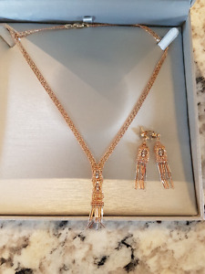14kt tri-tone gold bead necklace + earring set