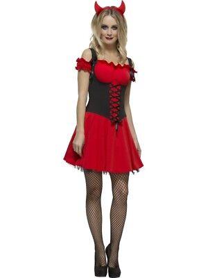 Fever Kollektion Sündhafter Teufel Damenkostüm Rot mit Kleid Unterrock und