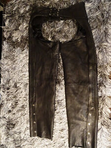MOTORCYCLE CHAPS men's XXXL top grade Cowhide Leather BRAIDED Cambridge Kitchener Area image 1