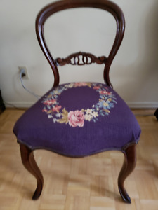 Antique Walnut Open Back Chair For Sale