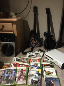 XBOX 360, with Guitars, Mic and DJ Hero, Plus games