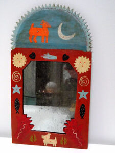 old PRIMITIVE FOLK ART MIRROR naïve METAL dog moon sun fish star