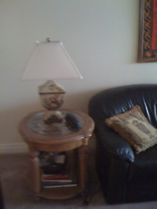 Wood Coffee Table with storage and complimentary side table