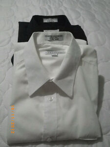 2 youth dress shirts, sz 16, one white, one black $15 for both