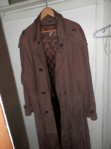 MENS DANIER FULL LENGTH SUEDE LEATHER TRENCH COAT 3X