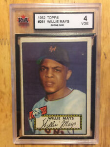 WILLIE MAYS 1952 Topps ROOKIE Baseball RC Card #261 Giants KSA 4