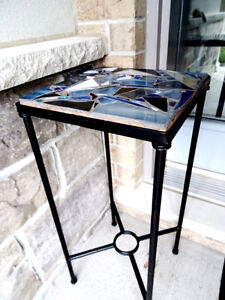 ALFRESCO Mediterranean WROUGHT IRON STAND & STAINED GLASS MOSAIC