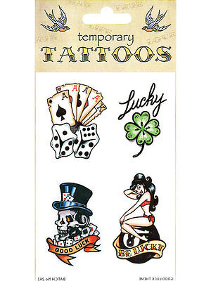 Adult Good Luck Lucky Clover Vegas Theme Novelty Fancy Dress Tattoo Accessories - Vegas Themed Costumes