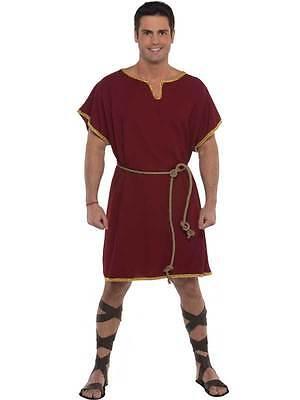 Adult Male Roman Greek Tunic Burgandy Toga Warrior Soldier Fancy Dress Costume