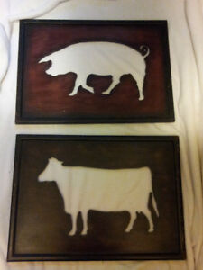 Set Of 2 RUSTIC Wood Wall Decor Farm Animals