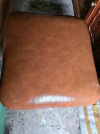 Brown Leather storage footstool