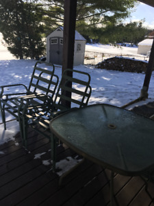 Outdoor table, 4 chairs and cushions
