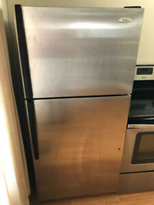 "Whirlpool 18.2 cuft top freezer bottom fridge 30"" w 30""d66""h"