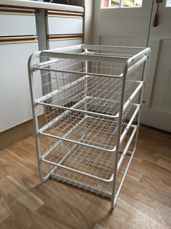 Ikea Basket Trolley 4x Drawers Fruit Veg Kitchen Storage White