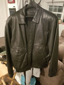 Large men's leather jacket with liner