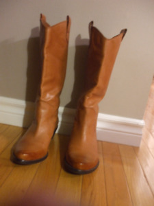 Woman's Franco Sarto Tan Leather Cowgirl Boots