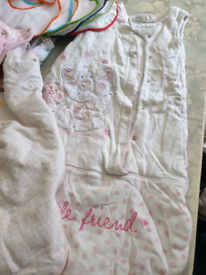 Large bundle of girls newborn clothes, two books, shoes.