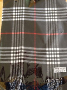 NEW pashmina Scarf Black Grey White Plaid - I accept Credit Card