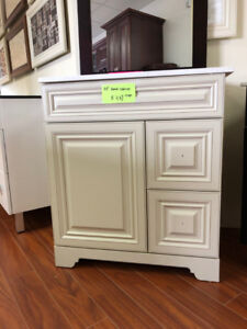 floor model vanity cabinets on CLEARANCE now!!