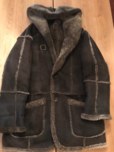 Oscar Leopold Mens Suede Shearling Coat with Hood, fit XL