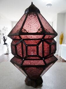 antique PERSIAN Moroccan lantern PURPLE GLASS filigree hanging