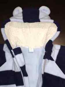 3-6 Mths Navy & Baby Blue Fleece Pramsuit - Excellent Condition
