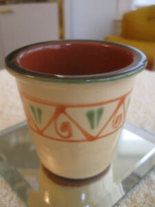 VINTAGE CLAY FLOWER POT with ENAMEL FINISH [NEVER USED]
