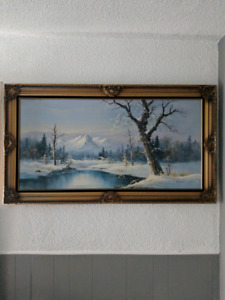 Winter mountain scene framed painted canvas Mitchell