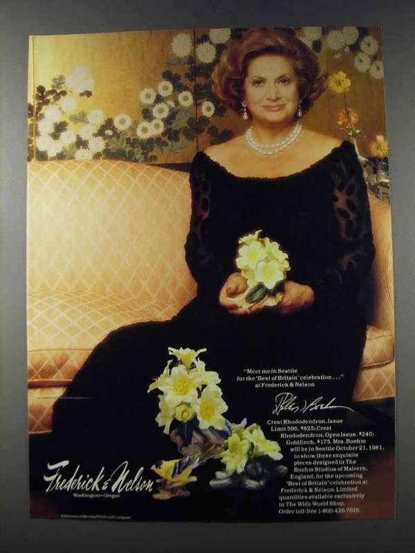 1981 Boehm Crest Rhododendron & Goldfinch Ad