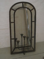Retro Metal Frame Mirror and Candle Holders