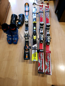 Jr. Race skis boots and shin guards