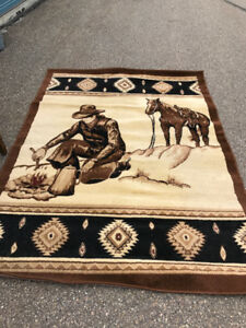 Western Cowboy Area Rug Two Runners Horse Campfire