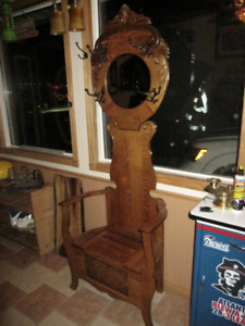 HALL STAND VINTAGE 1/4 SAWN OAK TURN OF THE CENTURY