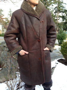 Sheepskin Knee-length Coat - $150