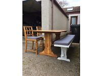Solid oak dining table, 2 chairs + bench