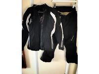 RST armoured motorbike jacket and trousers (woman's 12/14)