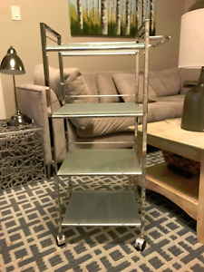 4-Tier Glass Cart with Locking Casters