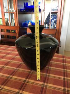 Hand blown black glass vase