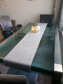 Dining table only, glass table with black and silver frame