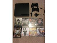 Playstation 3, 2 controllers, Bluetooth headset and games
