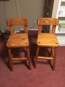 Two hand made bar chairs