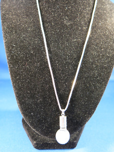 AUSTRALIAN FLOATING OPAL PENDANT WITH SAPPHIRE & STERLING CHAIN