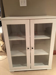 Ikea White Cabinet with 2 glass fronted doors and 3 shelves